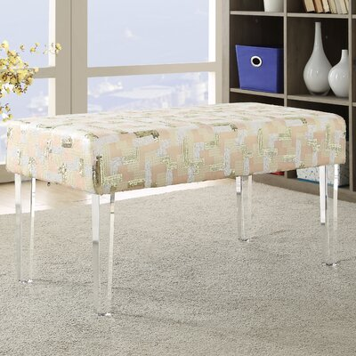 Hofstade Sequin Colorblock Upholstered Bench with Acrylic Leg