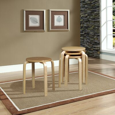 "Girardi Short Stacking 18"" Bar Stool Finish: Natural"