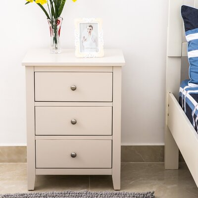Chantalle 3 Drawer Nightstand Color: Beige