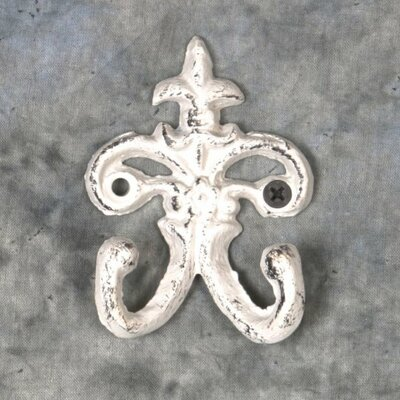 Lockett Cast Iron Double Coat Hook Color: White