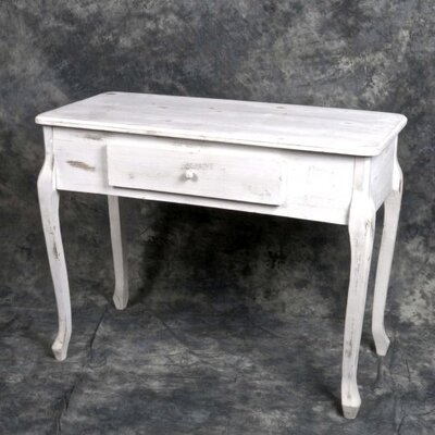 Fieldsboro Wooden Console Table with Drawer Color: White