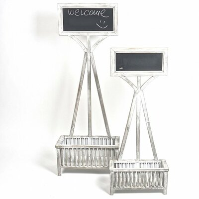 Raimondo Wooden Plant Stand with Chalkboard
