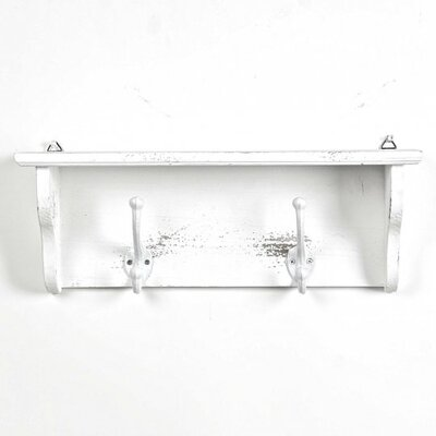 Damico Wooden Wall Mounted Coat Rack Color: White