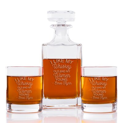 I Like My Whiskey Old and My Women Young Classic Square 3 Piece Beverage Serving Set