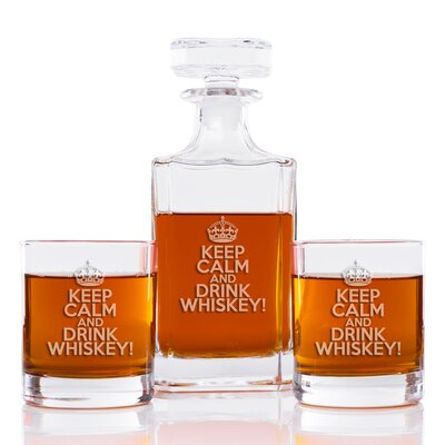 Keep Calm and Drink Whiskey Classic Square 3 Piece Beverage Serving Set