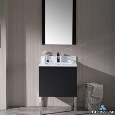 "Maly Modern 24"" Single Bathroom Vanity Set with Mirror Base Finish: Espresso"