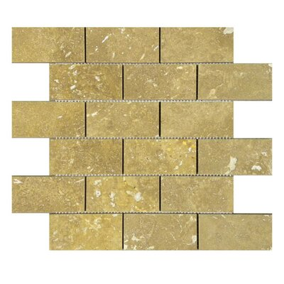 """Honed 2"""" x 4"""" Natural Stone Mosaic Tile in Noce"""