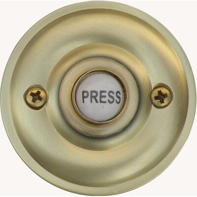 Traditional Metal Door Bell Surface Mount Pushbutton Finish: Satin Brass