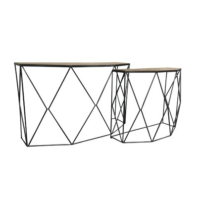 Pflugerville Modern Metal 2 Piece Console Table Set