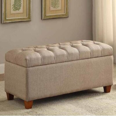 Locke Upholstered Storage Bench Upholstery: Taupe