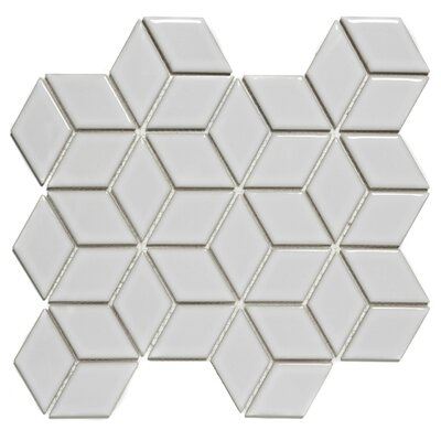 "Paris Rhombus Glossy 1.9"" x 3.19"" Porcelain Mosaic Tile in White"