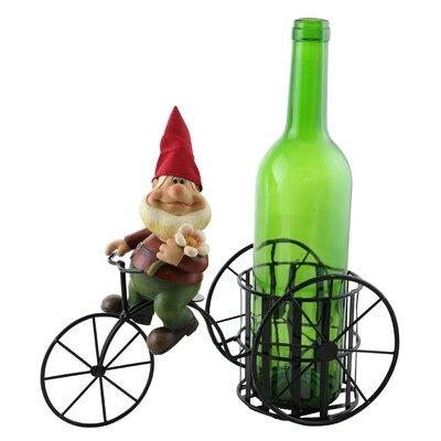 Happy Elf Holding Flower 1 Bottle Tabletop Wine Rack