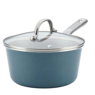 Nonstick Covered Saucepan 3qt. Porcelain Enamel Sauce Pan with Lid Color: Twilight Teal