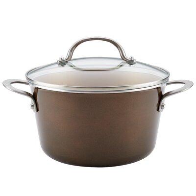 4.5 qt. Porcelain Enamel Nonstick Covered Soup Pot with Lid Color: Brown Sugar