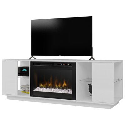 """Television Firebox 64.125"""" TV Stand with Fireplace Color: Smoke, Firebox Type: Acrylic Ice (XHD)"""