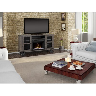 """Open Storage Space 66.125"""" TV Stand with Fireplace Firebox Type: Acrylic Ice"""
