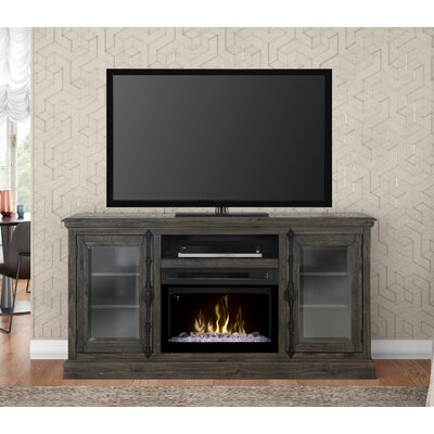 """Open Storage Space 68"""" TV Stand with Fireplace Firebox Type: Acrylic Ice"""