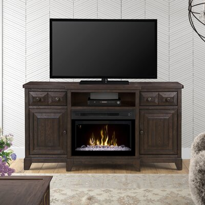 """Open Storage 66"""" TV Stand with Fireplace Firebox Type: Acrylic Ice"""