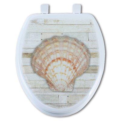 Seashell 1 on Wood Round Toilet Seat