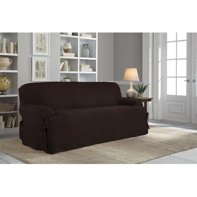 T-Cushion Sofa Slipcover Upholstery: Chocolate
