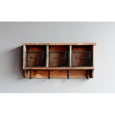 Burlington 3 Wooden Cubbies Wall Mounted Coat Rack with Hooks