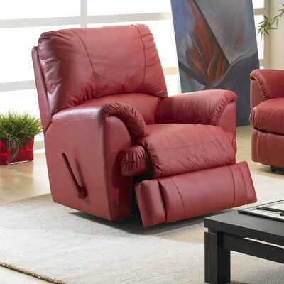Mylaine Leather Manual Rocker Recliner Reclining Type: Manual, Upholstery: Leather - Tauple