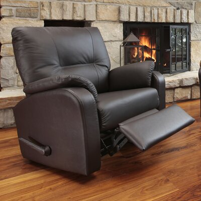 Beatrice Leather Power Rocker Recliner Reclining Type: Manual, Upholstery: Leather - Light Grey