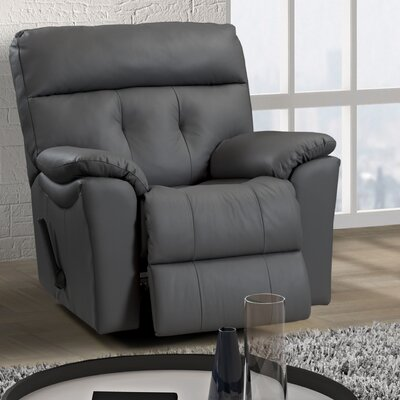 Sabrina Leather Power Rocker Recliner Reclining Type: Power, Upholstery: Leather / Vinyl - Grey