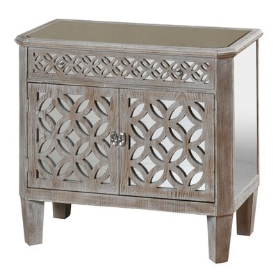 Lyra Mirrored and Distressed 2 Door 1 Drawer Accent Cabinet