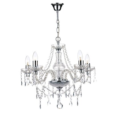 Dar Lighting Katie 5 Light Crystal Chandelier