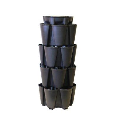 4 Tier Plastic Vertical Planter Color: Black