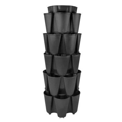 5 Tier Plastic Vertical Planter Color: Black