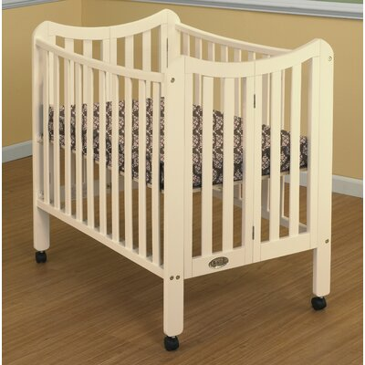 Tian Folding Portable Crib with Mattress Color: French White