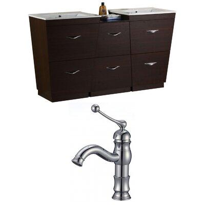 "Kao Floor Mount 62"" Double Bathroom Vanity Set Faucet Mount: Single Hole"
