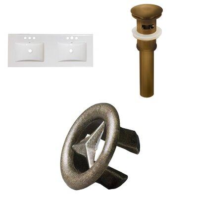 "Xena Ceramic 48"" Double Bathroom Vanity Top Drain Color: Antique Brass, Faucet Mount: 8"" Center"