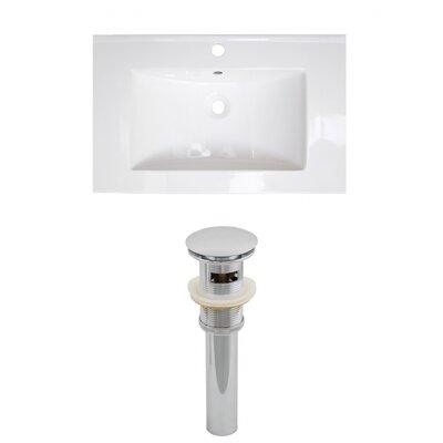 "Roxy Ceramic 24"" Single Bathroom Vanity Top Faucet Mount: Single, Drain Color: Brushed Nickel"