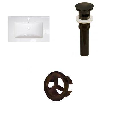 "25"" Single Bathroom Vanity Top Faucet Mount: Single, Drain Color: Oil Rubbed Bronze"