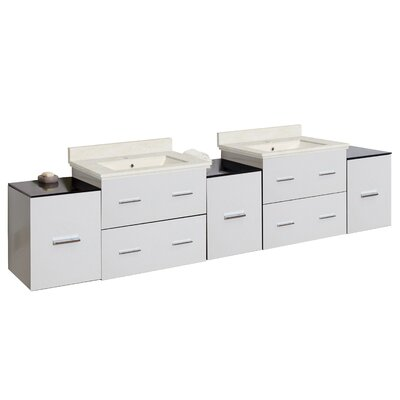 """Hinerman 89"""" Wall-Mounted Double Bathroom Vanity Set Top Finish: Beige, Sink Finish: Biscuit, Faucet Mount: Single Hole"""