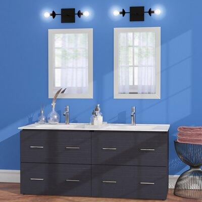 "Maryalice Wall Mount 48"" Double Bathroom Plywood Vanity Set Base Finish: Dawn Gray"