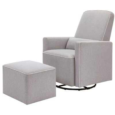 Olive Swivel Glider and Ottoman Upholstery: Gray