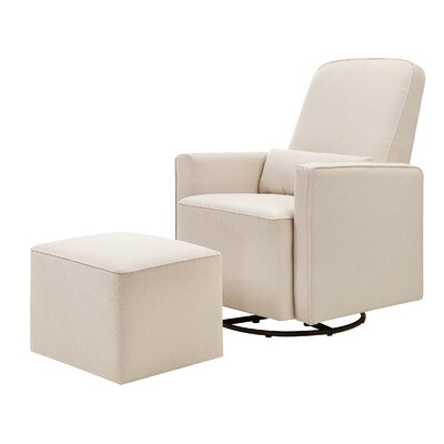 Olive Swivel Glider and Ottoman Upholstery: Cream