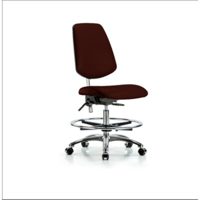 Miah Medium Bench Office Chair Color (Upholstery): Burgundy, Casters/Glides: Casters, Tilt Function: Included