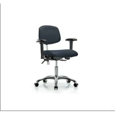 Desk Height Ergonomic Office Chair Casters/Glides: Casters, Color (Upholstery): Imperial Blue, Tilt Function: Included