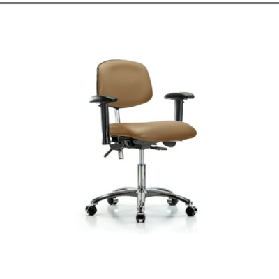 Desk Height Ergonomic Office Chair Casters/Glides: Casters, Tilt Function: Included, Color (Upholstery): Taupe