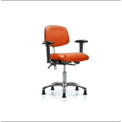 Desk Height Ergonomic Office Chair Casters/Glides: Glides, Tilt Function: Included, Color (Upholstery): Orange