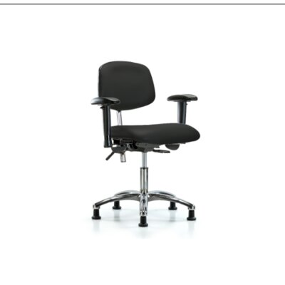 Desk Height Ergonomic Office Chair Color (Upholstery): Black, Casters/Glides: Glides, Tilt Function: Included