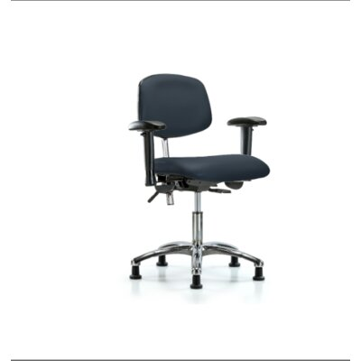 Desk Height Ergonomic Office Chair Casters/Glides: Glides, Color (Upholstery): Imperial Blue, Tilt Function: Included