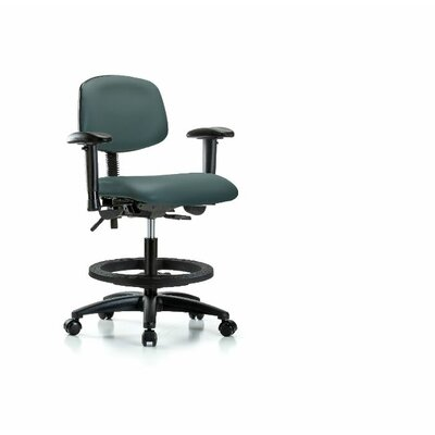 Lyric Medium BenchOffice Chair Casters/Glides: Casters, Color: Colonial Blue, Tilt Function: Not Included