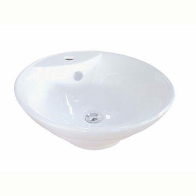 Ripple Ceramic Circular Vessel Bathroom Sink with Overflow
