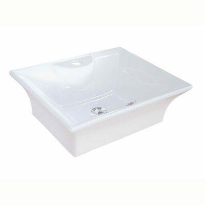 Forte Ceramic Rectangular Vessel Bathroom Sink with Overflow